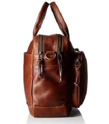 Fossil Defender Leather Double Zip Work Messenger Bag
