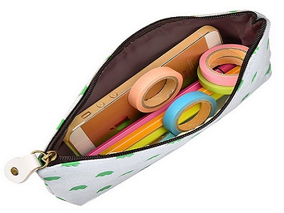Outus 4 Pieces Canvas Pen Pencil Case Stationery Pouch Bag