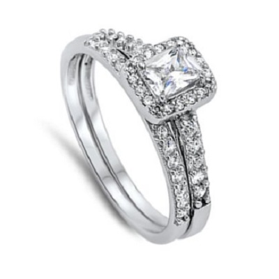 Wedding Set White Halo Unique Ring