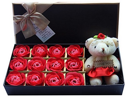 Rosesoap 12 Pcs Set With Little Bear Valentine Gift