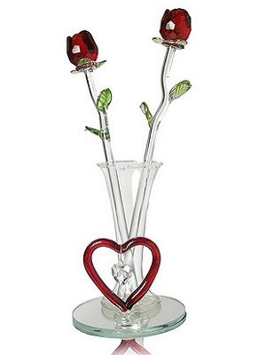 Red Roses In Glass Vase With Heart And Hanging Crystal Heart Shaped Charm