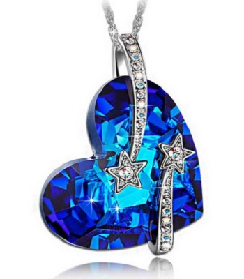 Lady Colour Venus Shooting Star And Hollow-Out Design Heart Sapphire Pendant NecklaceLady Colour Venus Shooting Star And Hollow-Out Design Heart Sapphire Pendant Necklace
