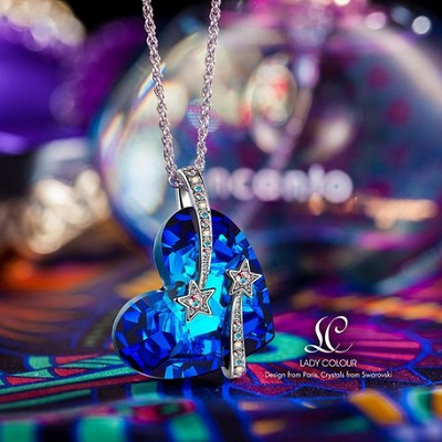 Lady Colour Venus Shooting Star And Hollow-Out Design Heart Sapphire Pendant Necklace