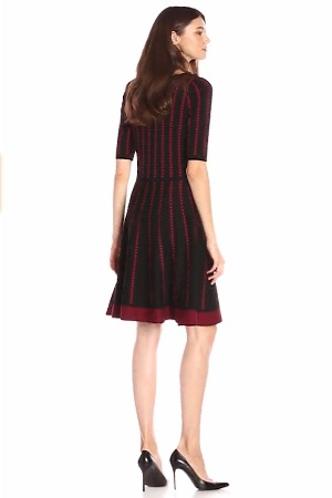 Danny And Nicole Women's Elbow-Sleeve Dotted Stripe Sweater Dress