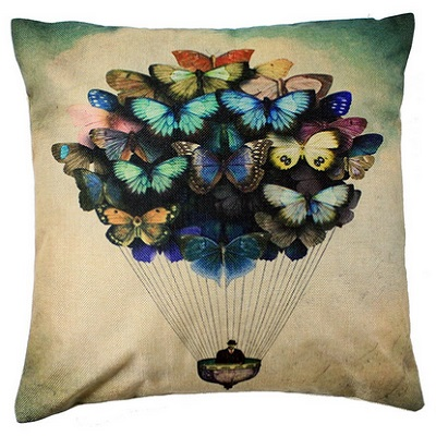 4TH Emotion Colorful Butterfly Balloon Design Pillow Case
