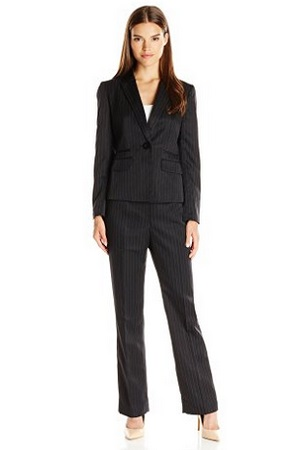 Le Suit Women's 2-Piece Black Pinstripe Suit