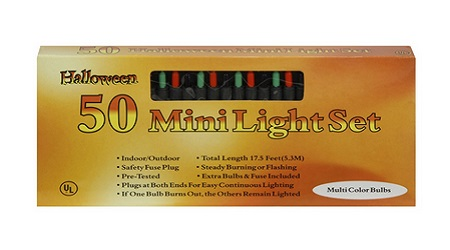 Darice 6201-27 50 Light Halloween Lights Orange Purple And Green