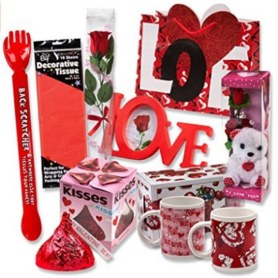 Valentine Gift Set Complete With Gift Bag, Tissue Paper And Red Rose
