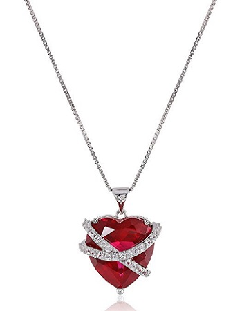 Sterling Silver Created Gemstone And Created White Sapphire Wrapped Heart Pendant Necklace