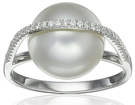 Tara Pearls Galaxy 18K White Gold Pearl And Diamond Ring