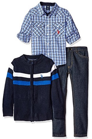 U.S. Polo Assn. Boys' Plaid Sport Shirt, Chest Stripe Sweater Jacket And Denim Jean