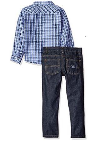 U.S. Polo Assn. Boys' Plaid Sport Shirt, Chest Stripe Sweater Jacket And Denim Jean