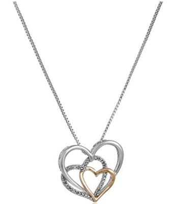 Sterling Silver And 14k Rose Gold Diamond Accent Triple Heart Pendant Necklace