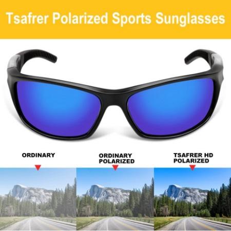 Tsafrer Unisex Polarized Sports Sunglasses For Men and Women With Unbreakable TR90 Frame