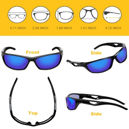 Tsafrer Unisex Polarized Sports Sunglasses For Men and Women With Unbreakable TR90 Frame