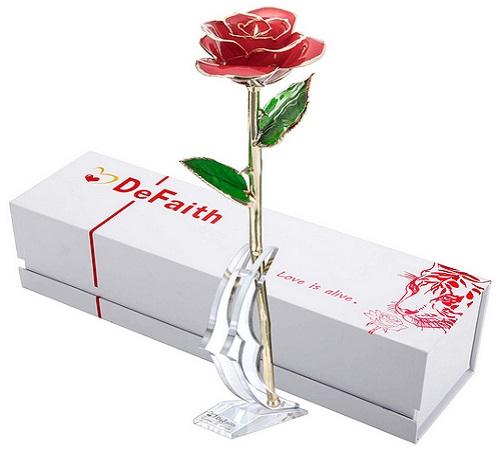 DeFaith 24K Gold Rose Made from Real Fresh Long Stem Rose Flower
