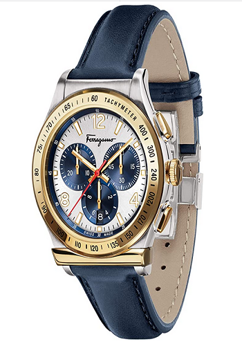 Salvatore Ferragamo Men's Ferragamo Stainless Steel Quartz Watch With Leather Calfskin